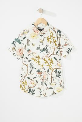 boys fashion floral button up