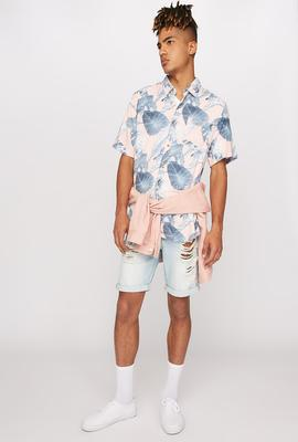 men fashion tropical print button up