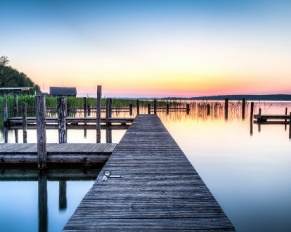 boat docks at sunset