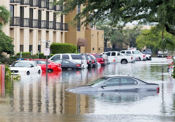 cars submerged during flood